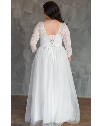 Свадебное платье с кружевными рукавами size+