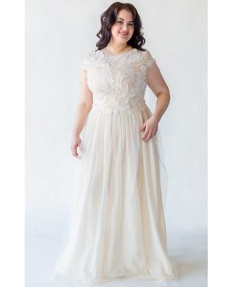 Свадебное платье шампань на большую грудь