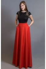 Длинная юбка красная с карманами