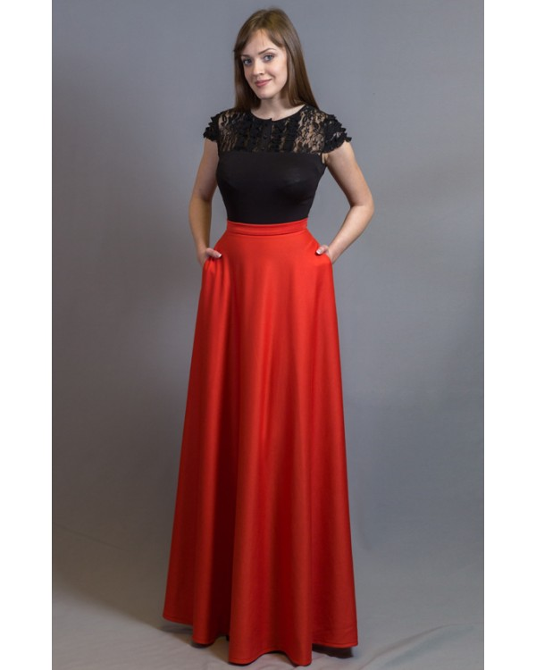 b6771e4d6c9 Длинная юбка красная с карманами купить в интернет-магазине Роял ...