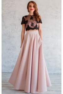 Атласная пудровая юбка солнце