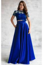 Атласная юбка солнце синяя