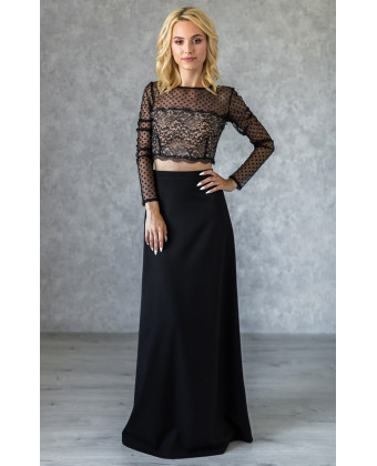 Длинная черная юбка А-силуэта