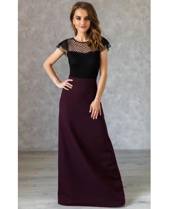 Длинная юбка А-силуэта марсала