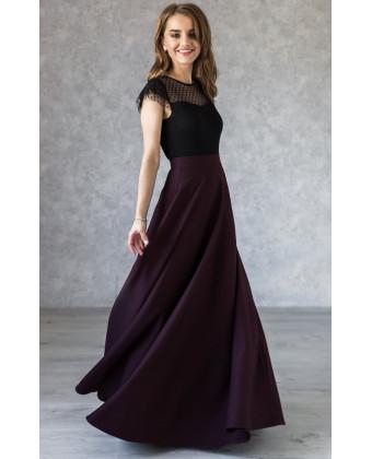 Длинная юбка марсала с карманами