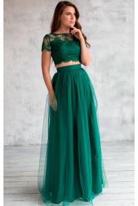 Длинная юбка с сеткой изумруд