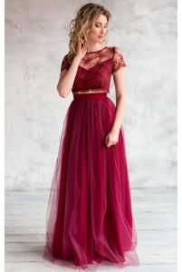 Длинная юбка с сеткой марсала