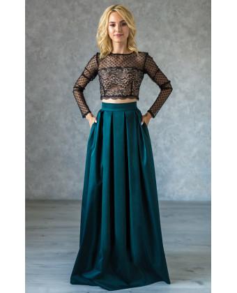 Длинная юбка в складку изумрудная