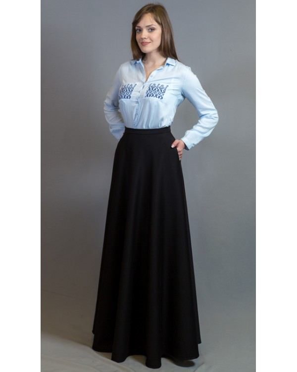 5745766ca72 Длинная трикотажная юбка в пол с карманами купить в интернет ...