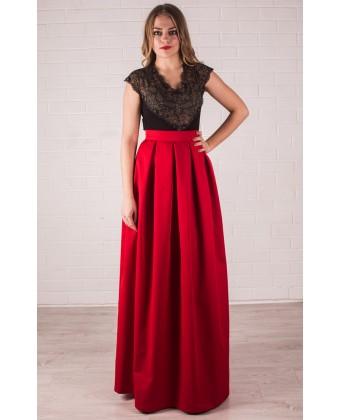 Красная котоновая юбка с карманами