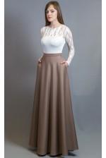 Длинная юбка в пол бежевая с карманами
