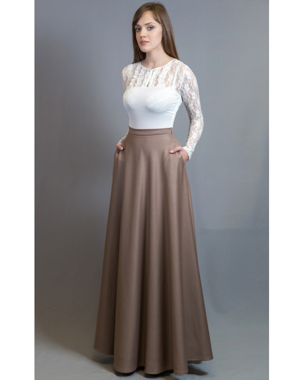 d94af6376be25 Длинная юбка в пол бежевая с карманами купить в интернет-магазине ...
