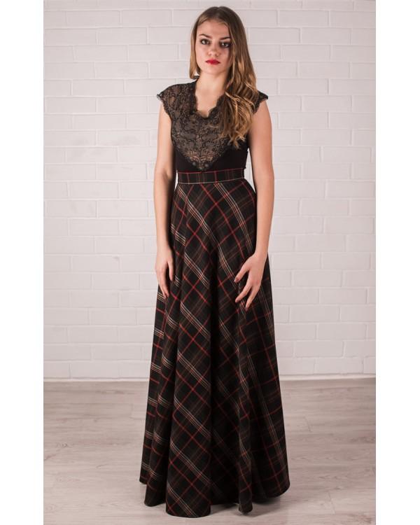23959d3ef0d15 Длинная юбка в клетку купить в интернет-магазине Роял-бутик - Юбки с ...