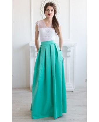 Длинная котоновая юбка с карманами