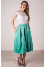 Мятная котоновая юбка миди