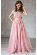 Пышная пудровая юбка солнце