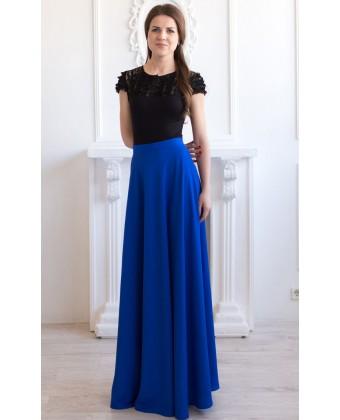 Летняя юбка макси синяя
