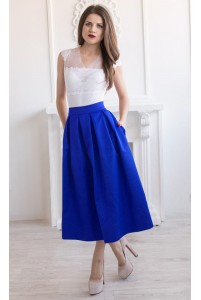 Синяя юбка миди в складу