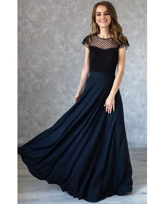 Стильная длинная юбка в пол синяя