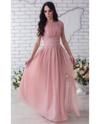 Нежное выпускное платье с камнями по талии