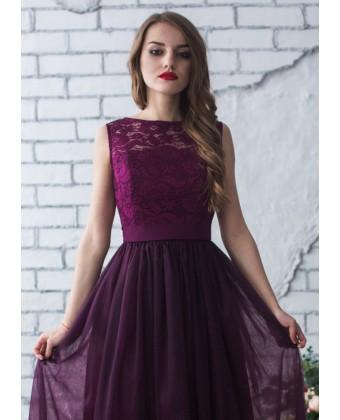 Выпускное платье цвета марсала