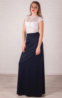 Длинная юбка синяя