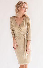 Фото коктейльного золотого платья на новый год