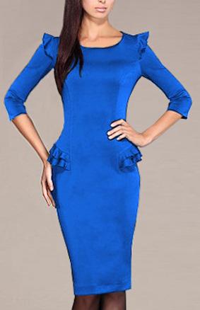 Купить деловое платье цвета электрик. Отличное качество, идеально садится по фигуре. Бесплатная доставка в любой
