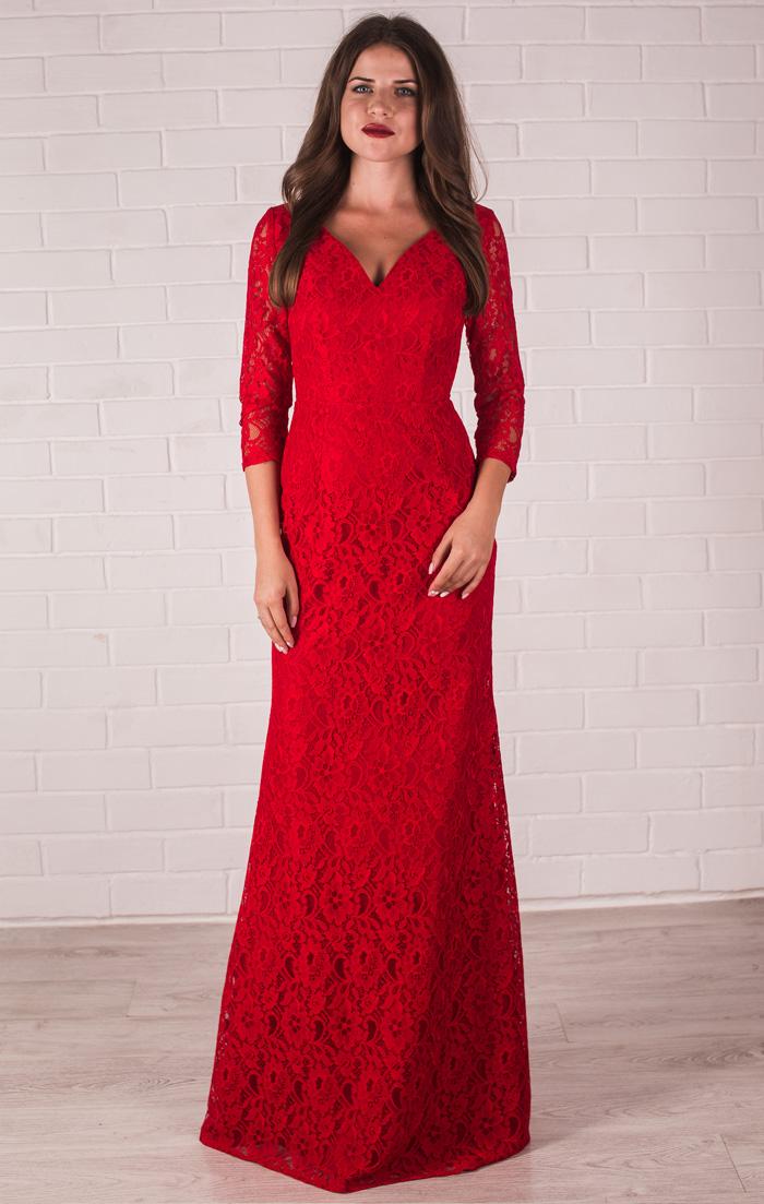 Красное платье вечернее с рукавами