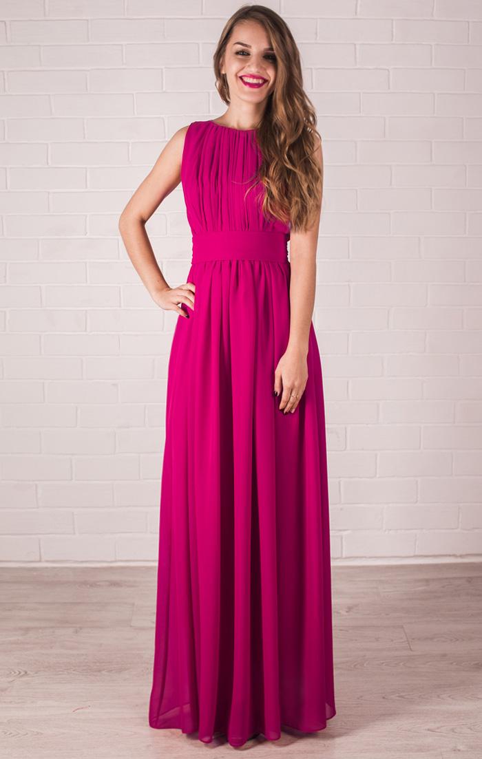 Коралловое платье греческого стиля