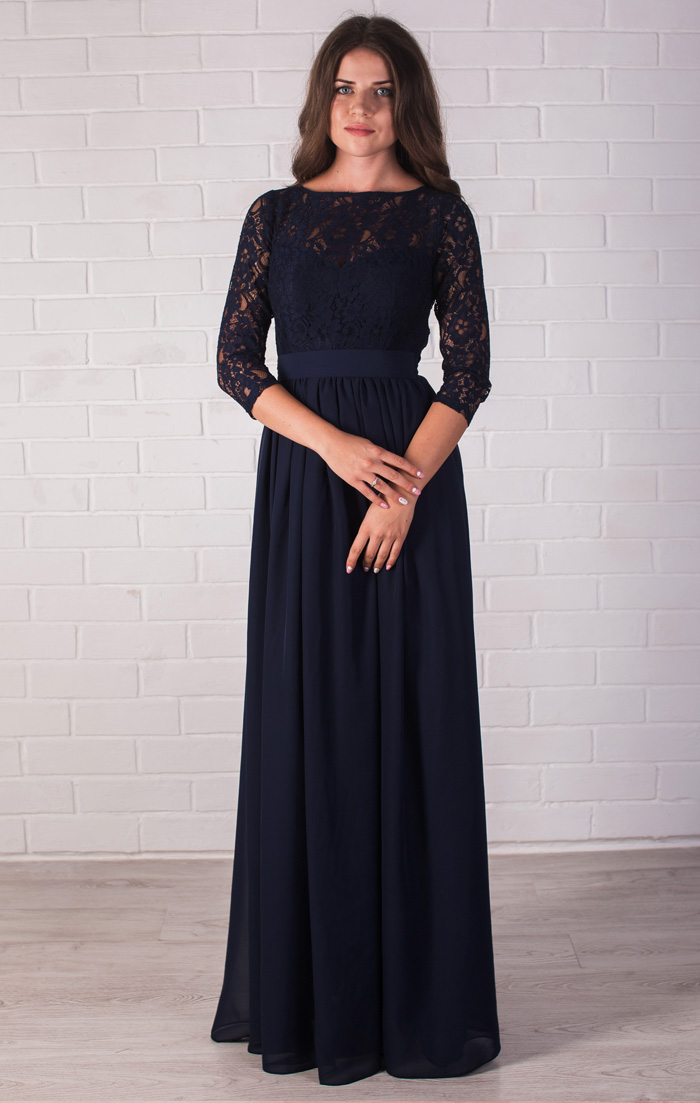 Платье В Пол Темно Синее Купить