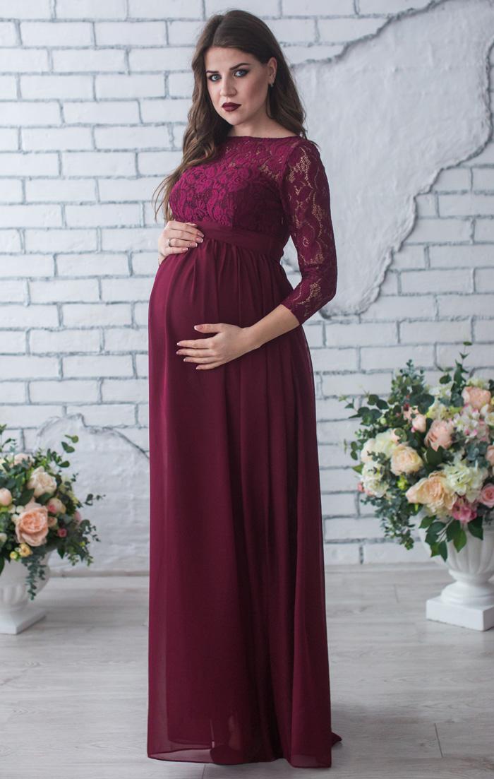 Вечерние платья для беременных с рукавами