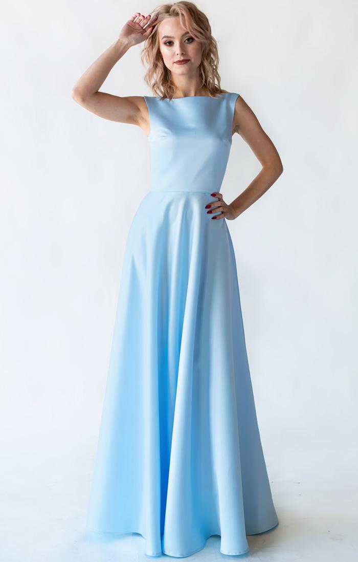 9f819f28b73 Атласное небесно - голубое платье купить в интернет-магазине Роял-бутик -  Вечерние платья с доставкой по Украине