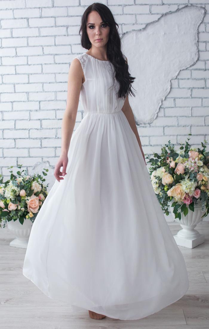 63118070e55 Белое шифоновое платье купить в интернет-магазине Роял-бутик - Платья на  роспись с доставкой по Украине