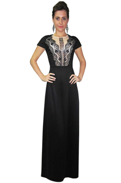ab4a2c6feb6 Длинное платье с кружевной вставкой купить в интернет-магазине Роял-бутик -  Платья в пол с доставкой по Украине