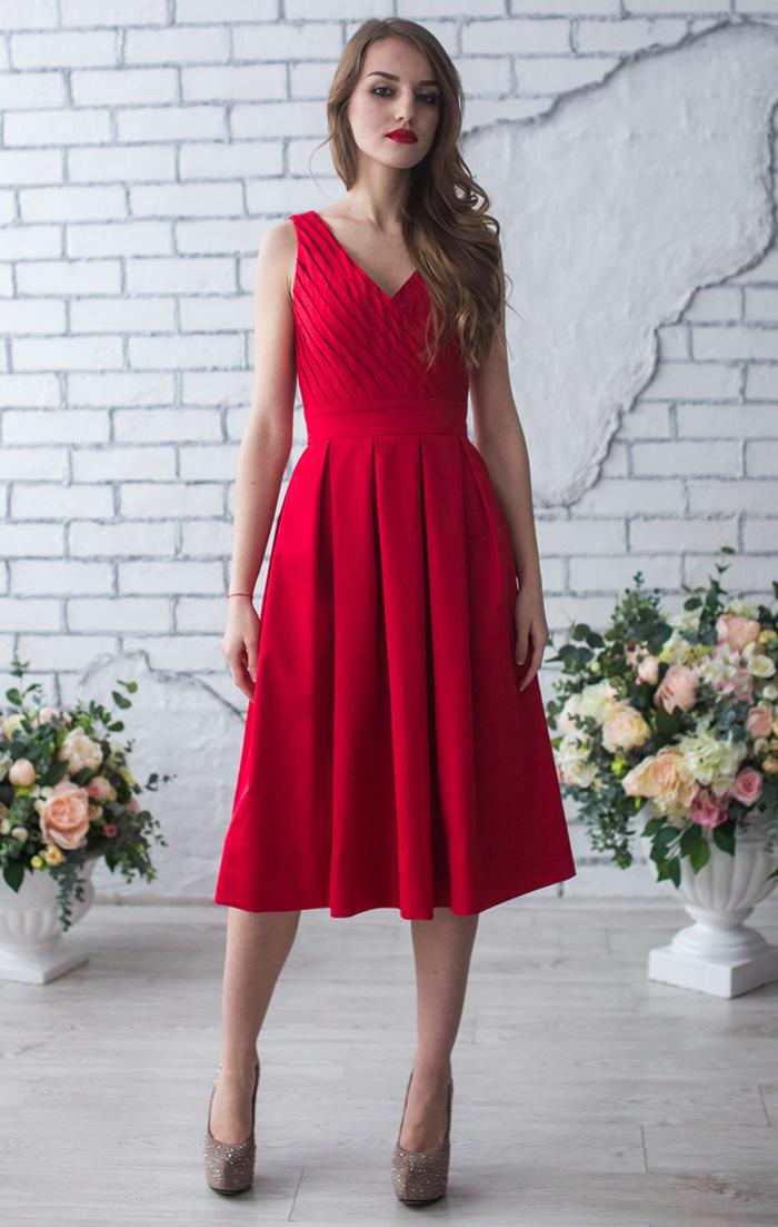 e812dc77d37 Красное платье миди купить в интернет-магазине Роял-бутик - Коктейльные  платья с доставкой по Украине