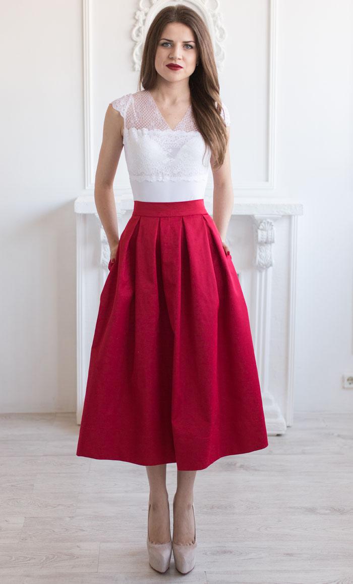 Пышная юбка миди на выпускной
